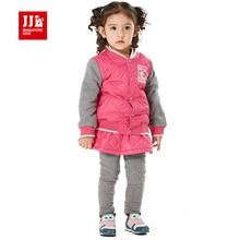 Дети девочки комплект одежды лоскутное куртка + skortpants новорожденных девочек костюм зимний детская одежда для девочек 2015 новый