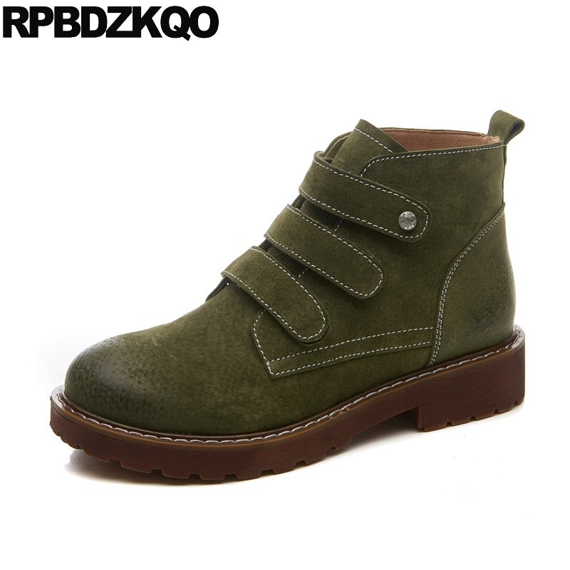 Flat Booties Work Military Combat Short Female Fall 2017 Autumn Shoes Green Suede Women Ankle Boots 2016 Round Toe Fashion yanicuding round toe women flock ankle booties metal short boots zip design luxury brand fashion runway star autumn shoes flats