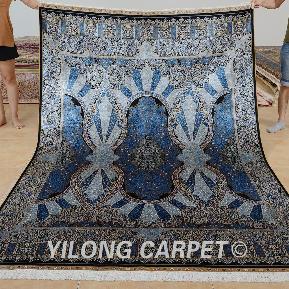 Yilong 6'x9' Turkish silk carpet vantage blue hand made persian rug (0718)