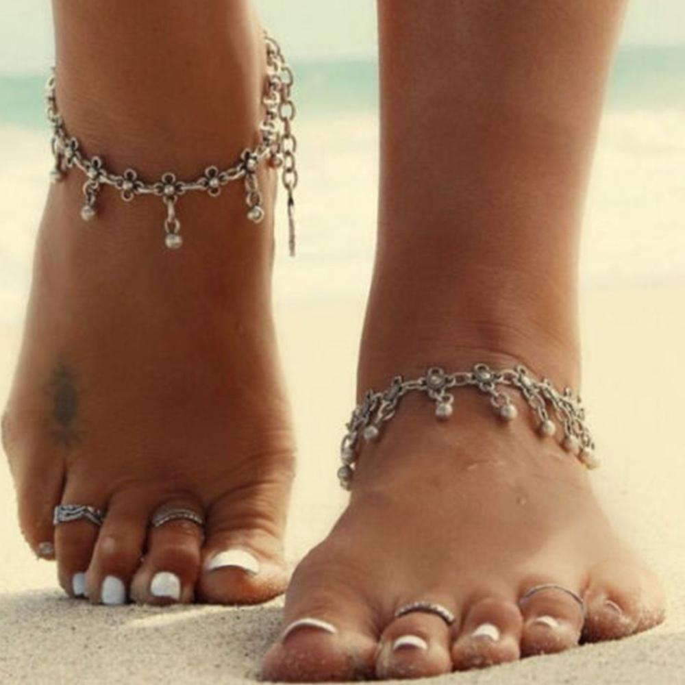 New Charm Anklets for Women Vintage Foot Jewelry Ancient Silver Plated Flower Ankle Chain Bracelet