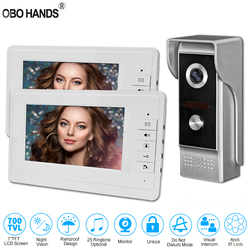 Wired casa 7 tft tft tft lcd vídeo porteiro campainha sistema monitor de vídeo porta telefone ir coms câmera ao ar livre 700tvl tela branca metal