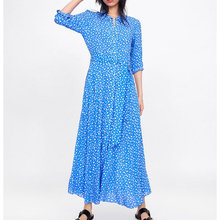 spring summer print dress for women long sleeve turn down collar bow tie sashes A line vintage mid-calf ladies dresses vestidos casual 2019 women dress long sleeve turn down collar animal print asymmetrical ladies dresses vintage sashes mid calf vestidos