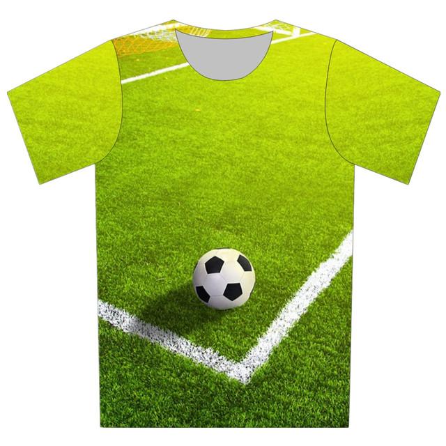 Novo 2016 Crianças 3D T Camisa Dos Desenhos Animados Copo de Futebol Tênis De boliche bola Impressão Legal T-Shirt Da Menina Do Menino Ocasional de Manga Curta T Topos