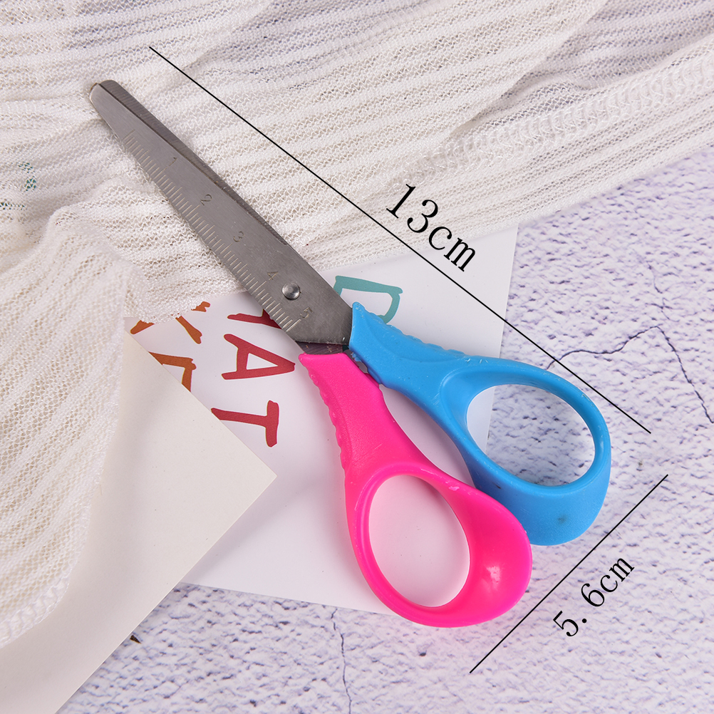 Plastic Scissors Safety Round Head Scissors For Kids Students Paper Cutting Supplies For Kindergarten School Durable Modeling Scissors