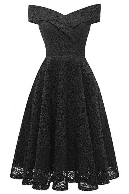 Коктейльные платья сексуальное бордовое кружевное короткое платье для вечеринки длиной до колена ТРАПЕЦИЕВИДНОЕ ПЛАТЬЕ С v-образным вырезом без рукавов - Цвет: black