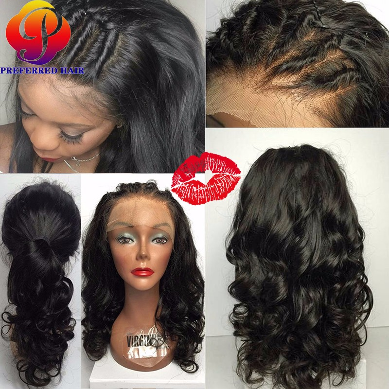 Shoulder Length Lace Front Wig Sew In Full Lace Wig Remy Human Hair Lace  Frontal Wig For African American Lacewig With Baby Hair-in Human Hair Lace  Wigs ... c6b22193796b