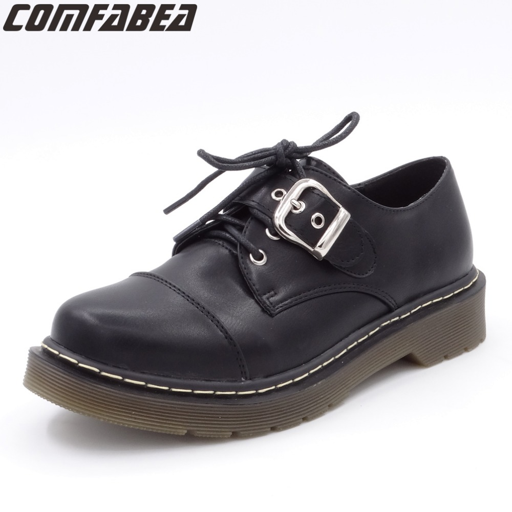 Spring Autumn 2018 New Women Shoes Casual Lace Black Shoes Platform Flat Shoe Oxfords Shoe For Woman Buckle Footwear vixleo men shoes new spring and autumn casual fashion safety oxfords breathable flat footwear pu leather waterproof shoes men