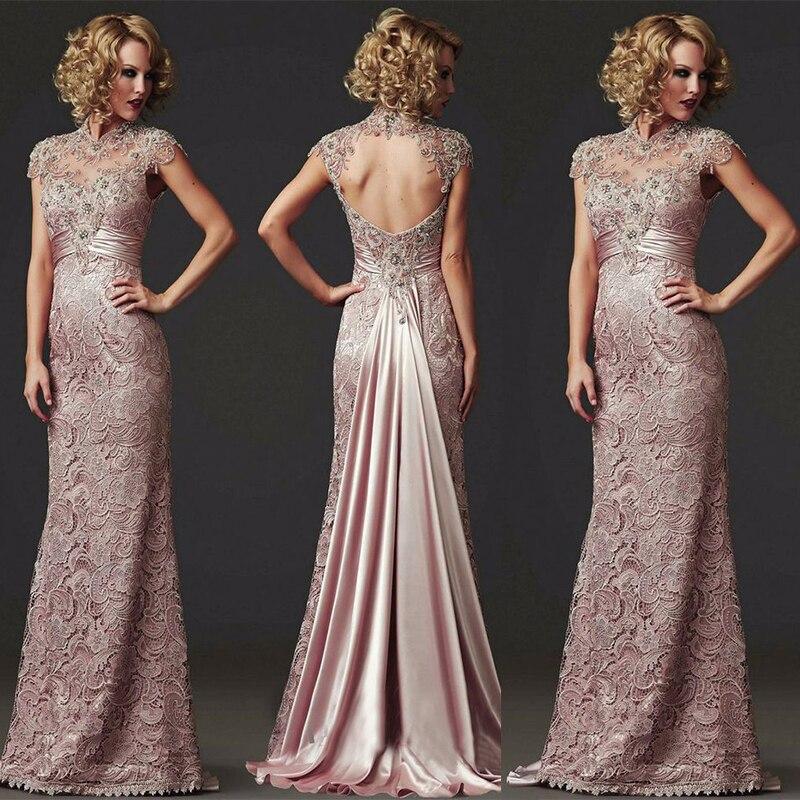 ddc01e1cc49 Long Mermaid Lace Evening Dress 2018 Formal Beaded High Neck Mother of the Bride  Dress Vestido de festa longo