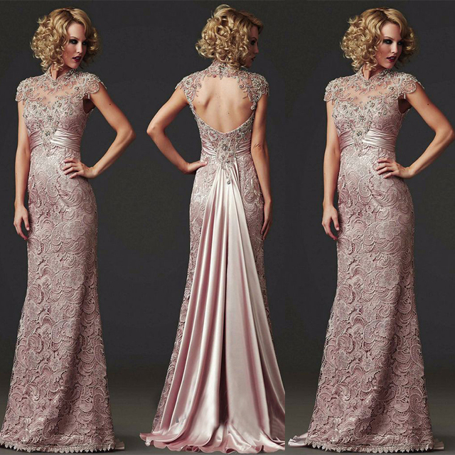 Long Mermaid Lace Evening Dress 2018 Formal Beaded High Neck Mother of the Bride  Dress Vestido de festa longo 86bcccb337ac