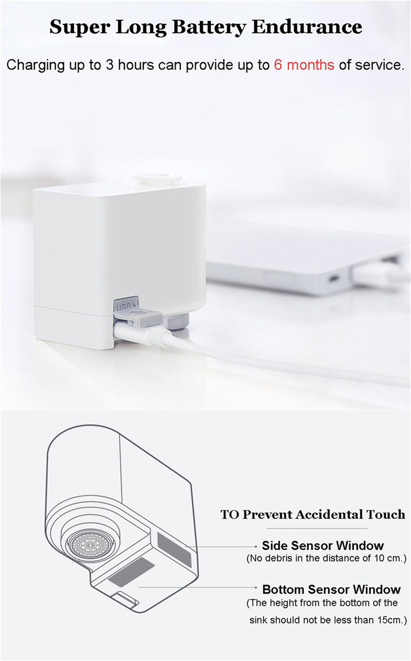 Original xiaomi mijia zajia automatic sense infrared induction water saving smart home device for kitchen bathroom sink faucet