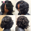 BQ 8A Product Short Bob Hair For Black Women 4 Bundle Deals Body Wave Peruvian Human Hair Extensions Weaving Top on Aliexpress