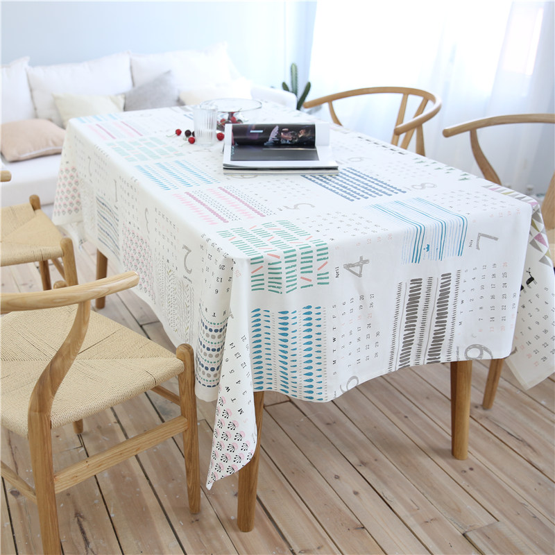 CITYINCITY Calendar Style White Tablecloth Cotton Printed Rectangular For Home Party Wedding Decoration Customized
