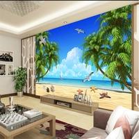 Beibehang Papel De Parede 3d Custom Wallpaper HD Beach Coconut Aegean Landscape TV Wall Wallpapers For