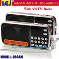 L-088AM Free shipping dual band rechargeable portable mini pocket digital AM FM radio with USB port TF micro SD card slot