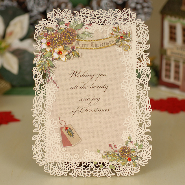Retro Christmas New Year Greeting Cards Cute Handmade Diy Creative