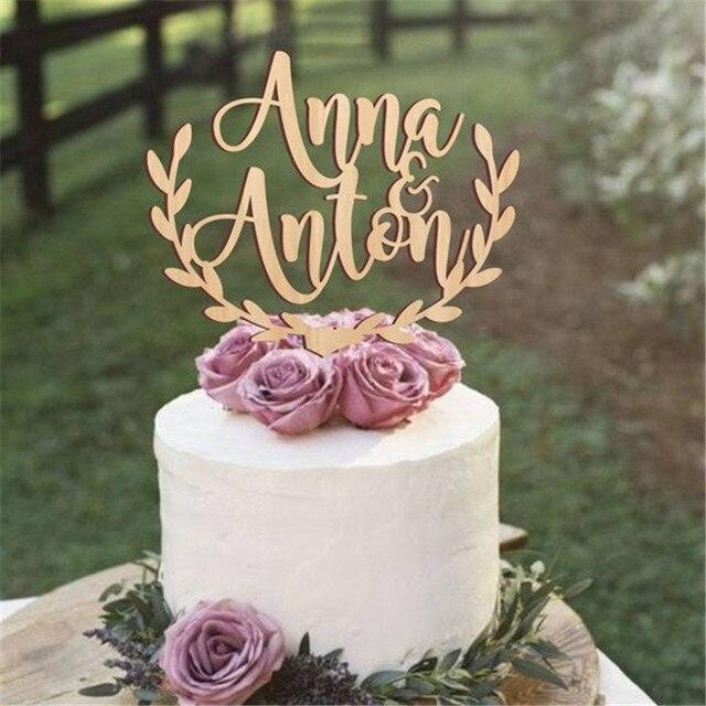 Персонализированные имена, Топпер для свадебного торта, деревянный деревенский Топпер для свадебного торта, акриловый Топпер для торта на заказ