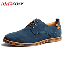 Plus Size New Fashion Suede Genuine Leather Flat Men Casual Oxford Shoes Low Men Breathable Leather Shoes