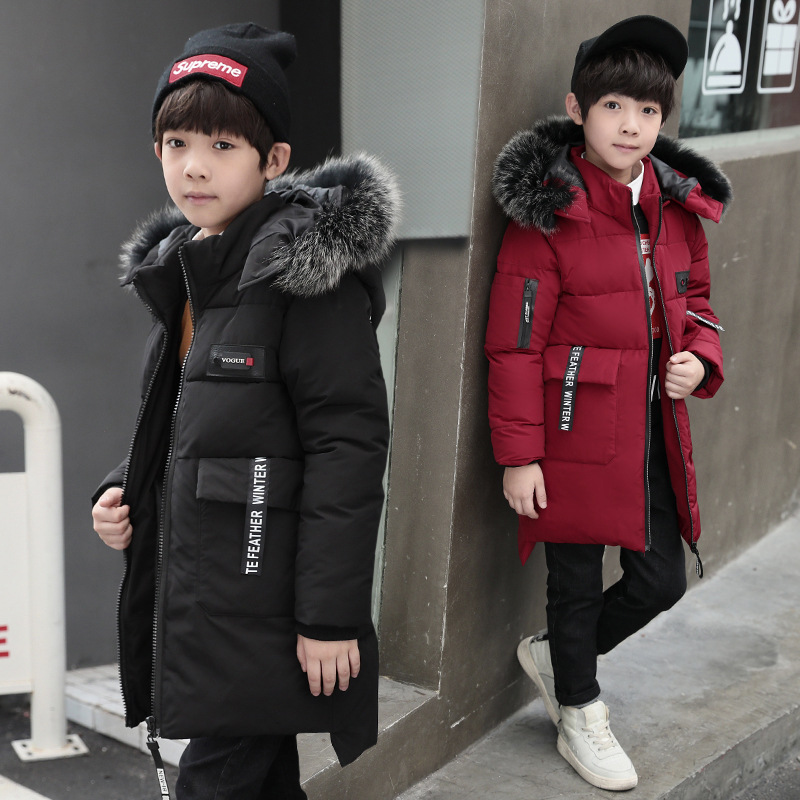 Boys Down Jackets 2018 Cotton Padded Fur Collar Long Coat Winter Warm Thicken Snowsuit Big Boys Parkas 4 5 6 7 8 9 10 11 12 13 Y 2017 fashion winter jacket coat women long thicken down cotton padded faux big fur collar warm female outwear parkas woman