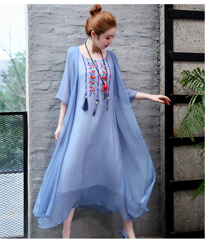 2019 New Cotton Linen Casual 2 Pieces Women Dresses Slim Sleeveless Dress And Cardigan Summer Embroidery Chinese Style Dress 14
