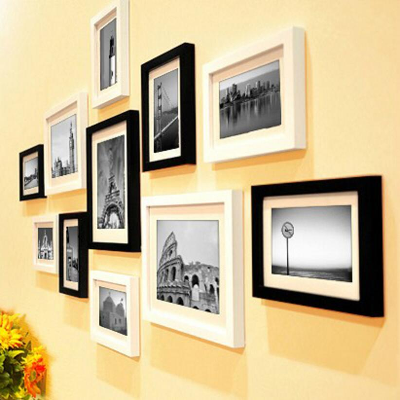 11 unids/set Collage Marco De Fotos De Madera, Porta Retrato Moldura ...
