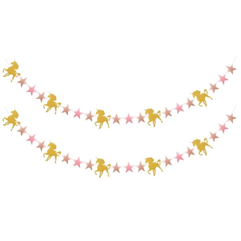 1 компл. вечерние украшения Единорог баннеры розовый Детские души гирлянды дети событий рождения поставки счастлив висит фон гирлянды