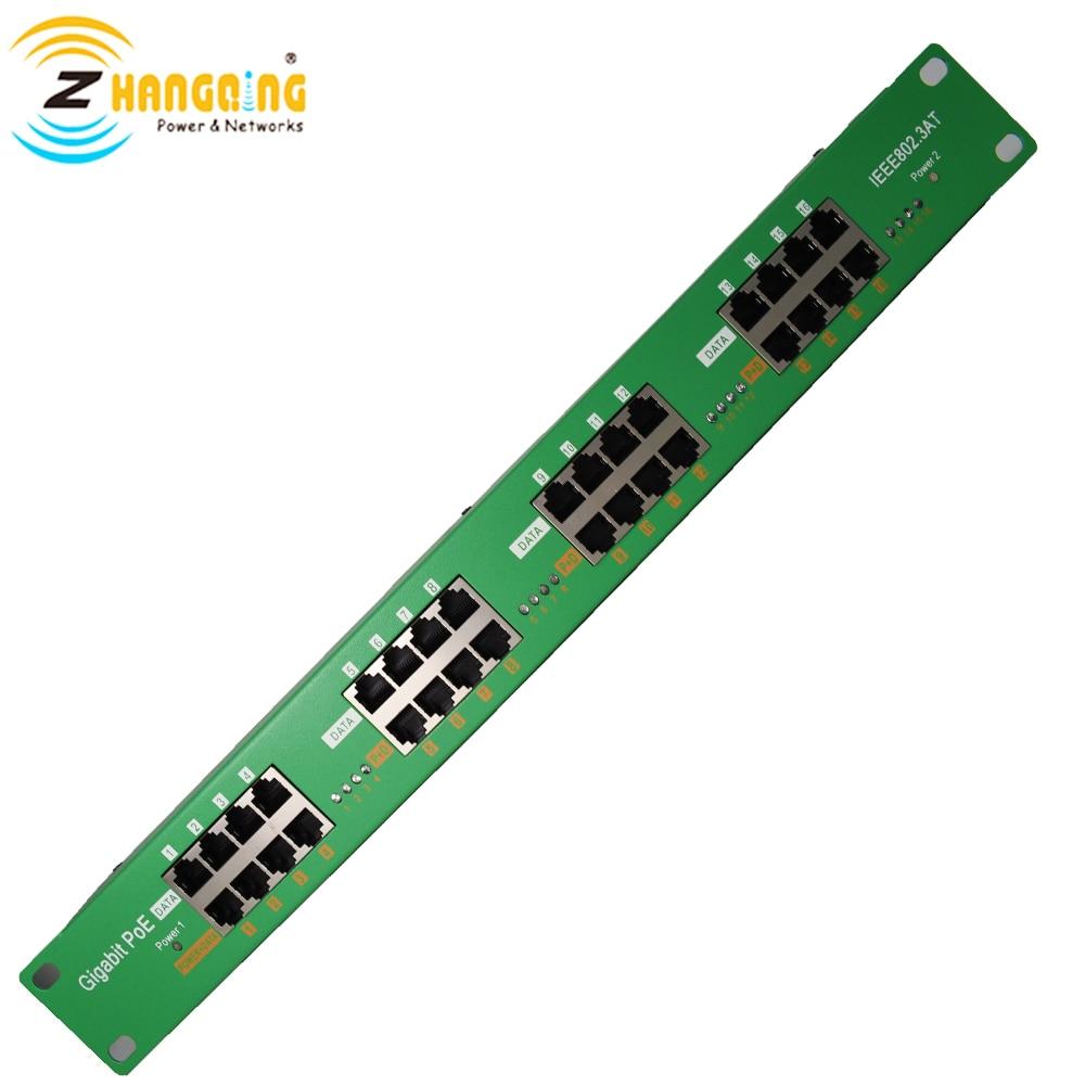 16Port Gigabit aktif 802.3at PoE enjektörü LED durum PoE patch panel Cisco IP kamera  IP telefon WiFi erişim noktası|Şanzıman ve Kabloları|Güvenlik ve Koruma -