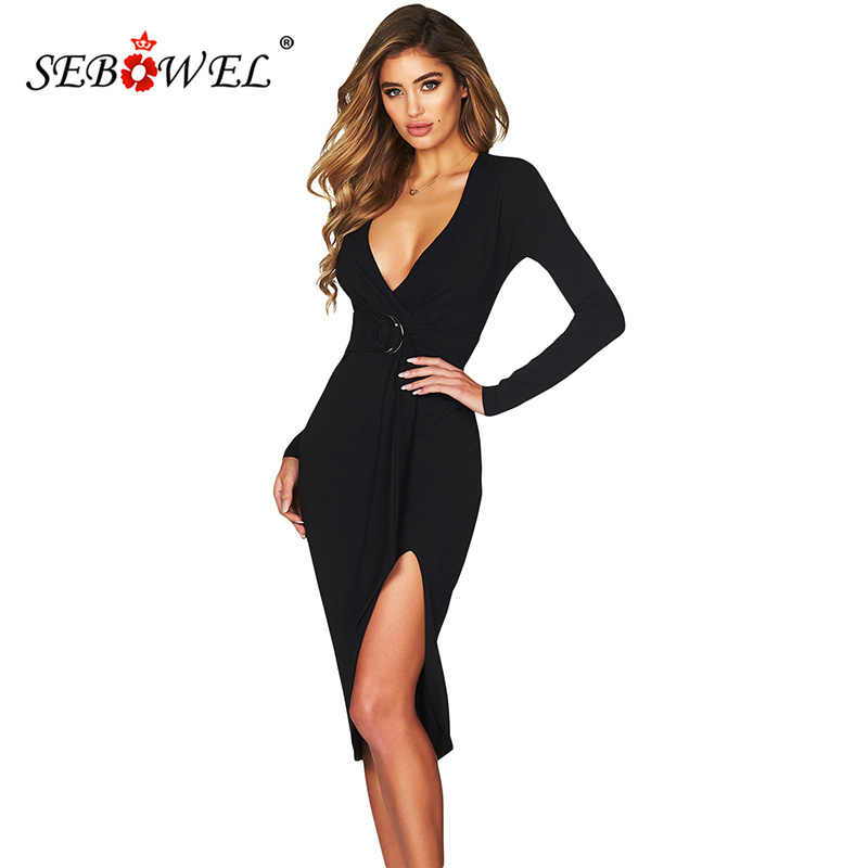 37d8cda7e7 SEBOWEL Sexy Bodycon Midi Dresses Women Elegant Burgundy Long Sleeve Deep V  Party Club Dresses Female