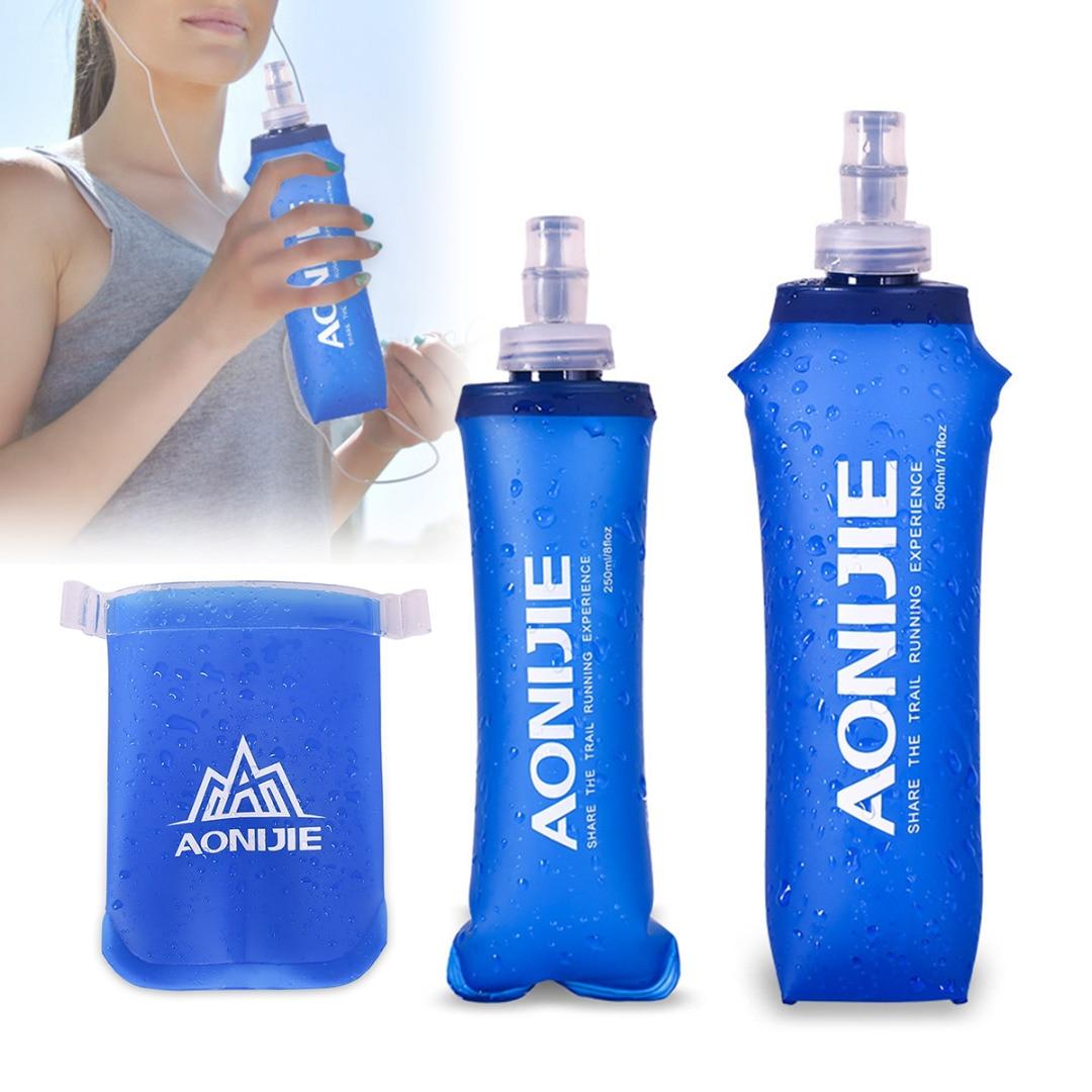 Hordozható 170ml 250ml 500ml szabadtéri kemping hajtogatható TPU vízzsák puha lombik Squeeze a sport futó kerékpáros italokhoz