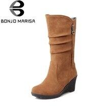 Bonjomarisa/большой Размеры 34–43 качество Горячая осень Женская зимняя обувь до середины икры Wedge женщина Slip-On плиссе сапоги для верховой езды