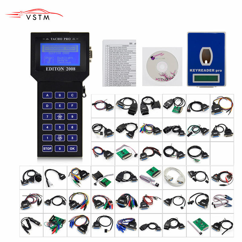 2019  Tacho Pro 2008 Unlock Version Main Unit Mileage Adjuster Full Cable Universal Dash Programmer Car Odmeter Reset Tool