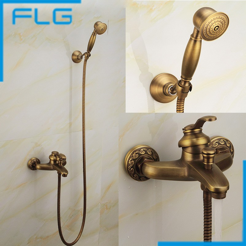 Fashion Top High Quality Total Brass Gold Europe Style Deck-mounted Bathtub Shower Set Bathroom Shower Set Faucet Tap Mixer fashion europe style quality brass black