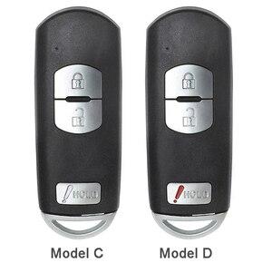 Image 4 - KEYECU pour Mazda 3 6 CX 3 remplacement de CX 5 2/ 3/ 2 + 1/ 4 bouton Smart télécommande voiture clé coque Fob prise rouge avec lame non coupée
