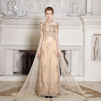 2018 New Fashion Gold Arabic Evening Dresses with Cape High Neck Long Sleeve Lace Beaded Formal Evening Party Gowns Custom Made