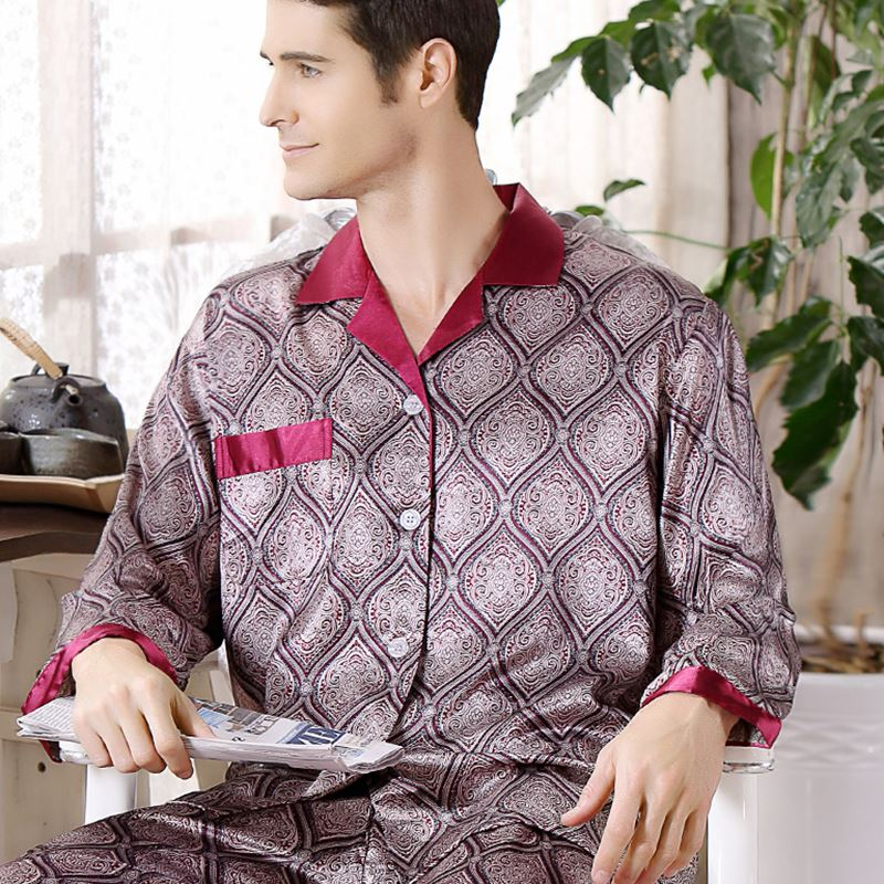 Thoshine Brand Spring Fall China Satin Silk Pajamas Sets Men Geometric Pattern Sleepwear Leisure Home Clothing Superior Quality