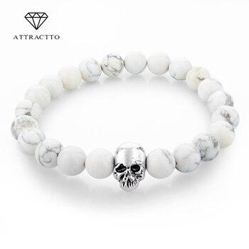 ATTRACTTO Handmade Tiger Eye Natural Stone Skull Bracelets & Bangles Lava Beads Charm Bracelets For Women Men Jewelry Bracelet