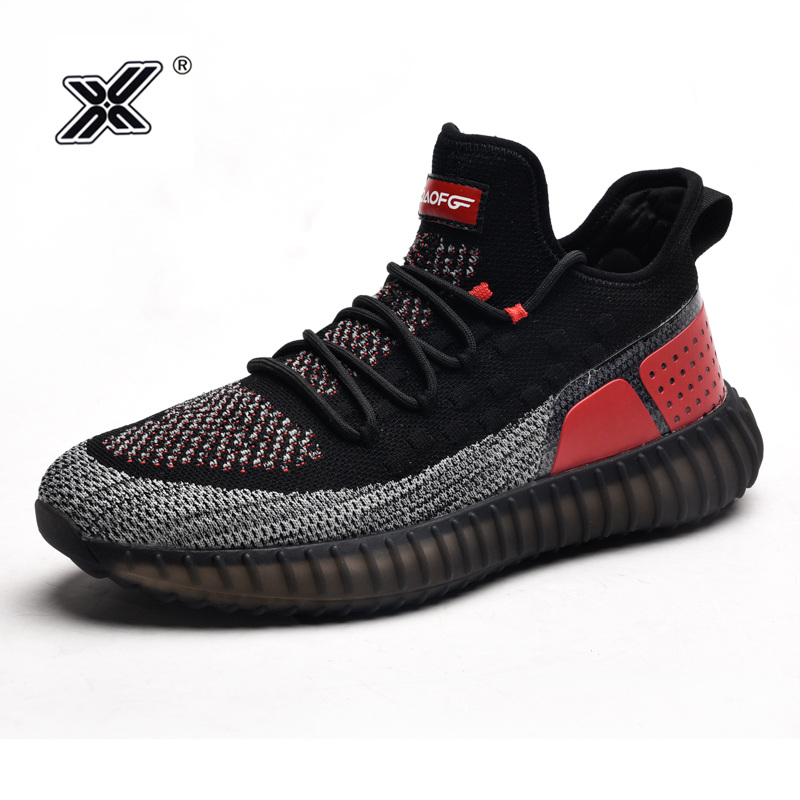 X Brand New Design High Men Sneakers Autumn Black Breathable Flyknit Air Boost Bottom Elastic Men Shoes Couples Trainers Casual