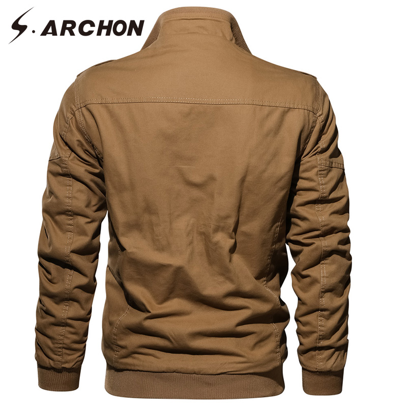 S ARCHON Winter Military Jacket Men Thermal Thick Fleece Lining Tactical Jacket Coat Army Pilot Casual Air Force Cargo Jackets in Jackets from Men 39 s Clothing