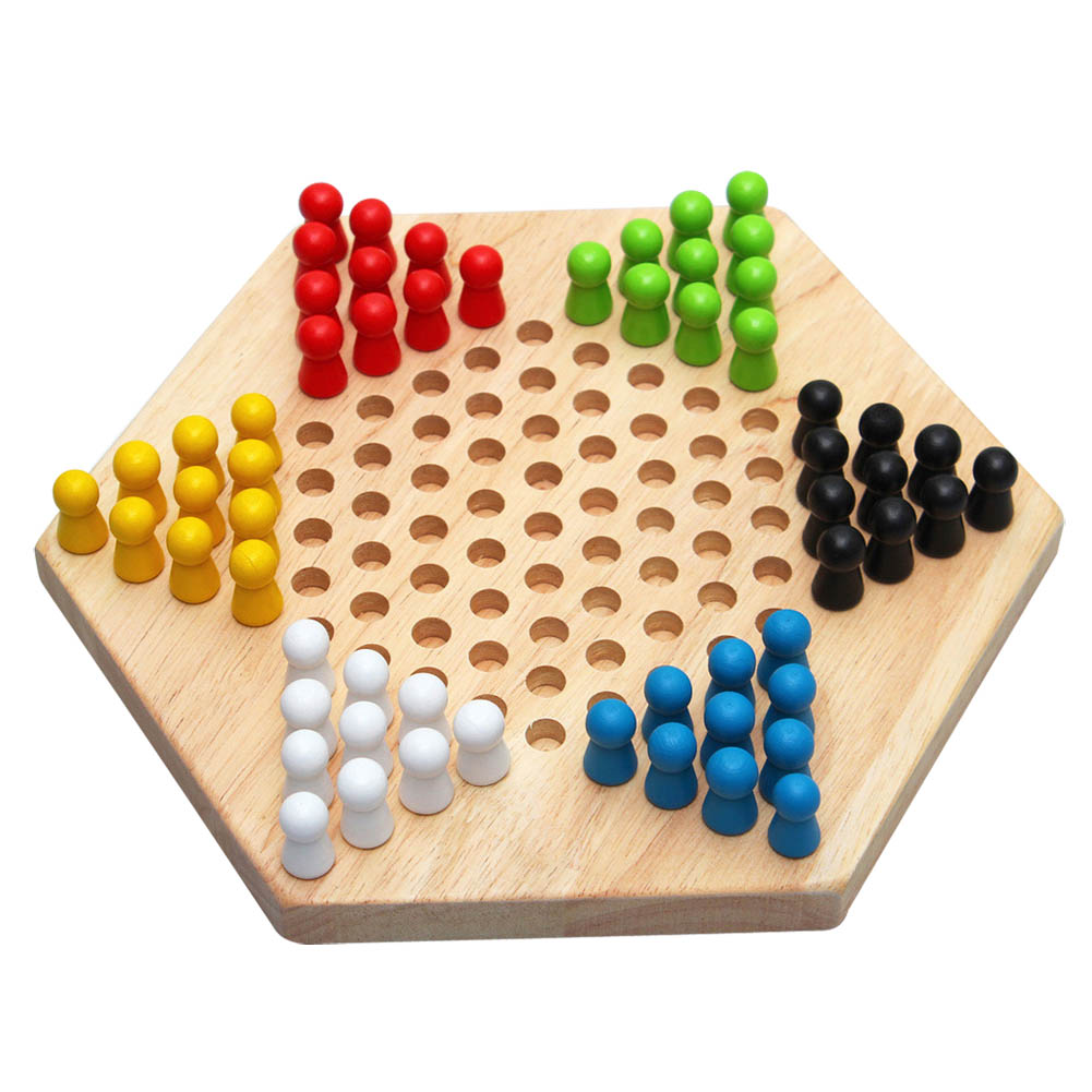 Education Math Toys Traditional Hexagon Wooden Chinese Checkers Family Game Toys Set for Kids Adults Gifts YH-17 ...