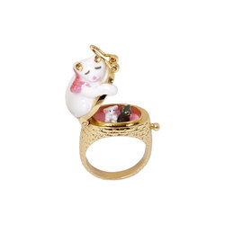 Christmas Sweet Sleep Cat Ring Rich Color Open Close Delicate Design Women Fashion Charm Jewellery Anelli Donna Bague Femme Anel