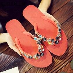SUOJIALUN Women's Summer Slipper Brand Crystal Beach Flip Flops Lady Slippers Women Flat Heel Casual Slipper zapatos mujer