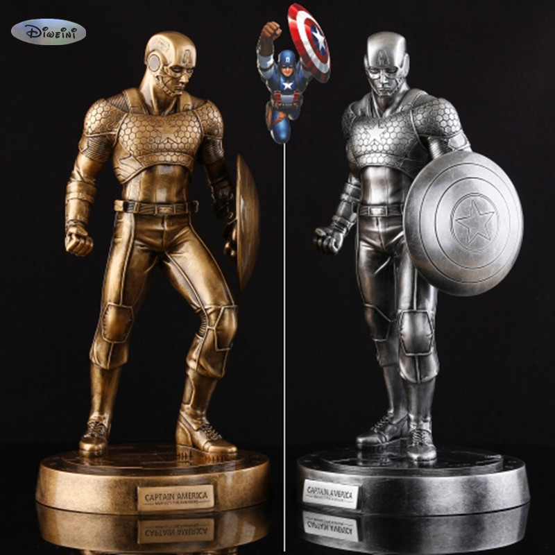 EMS New Captain America 3 III Civil War Brozen Or Sliver Color Painted Resin Figure Statue