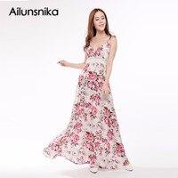 Ailunsnika Summer Women Plus Size Dress Bohemian Beach Print Dress Sexy Sleeveless Spaghetti Strap Backless Maxi