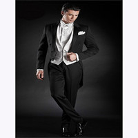 Classic Black Tail Coat Groom Tuxedos Groomsman Suit Custom Made Men Suit Handsome Tailcoat mens suits 2018 (jacket+pants+vest)