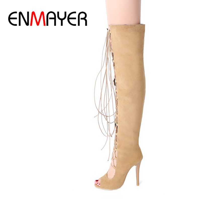ФОТО ENMAYER Black Yellow Flock High Heels Peep Toe Lace-Up Over-the-Knee Rome Shoes Women Thin Heels Casual Dress Sandals Size34-43