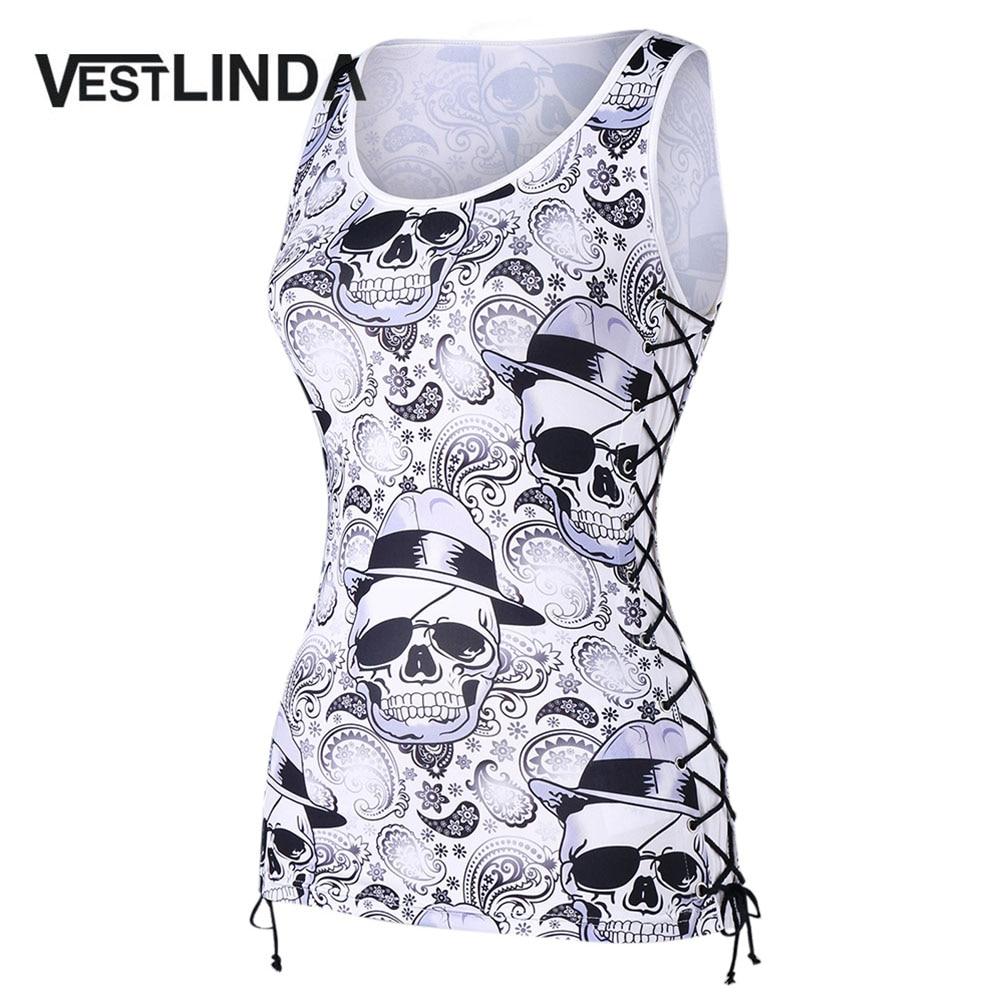VESTLINDA Skulls Paisley Lace Up Tank Top Women 2018 New Fashion Casual Sleeveless Streetwear Tanks Womens Tops Tees T-Shirts
