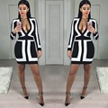 2017 Sexy Bandage Deep V Dresses for Women New Spring Winter Ladies Long Sleeve Striped Dress Vestidos 00017