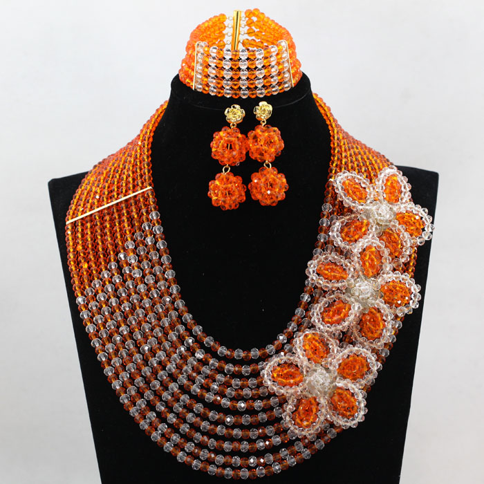 Orange et clair bijoux africains à la main cristal fleur broches traditionnel nigérian mariage perles ensemble de bijoux WD116