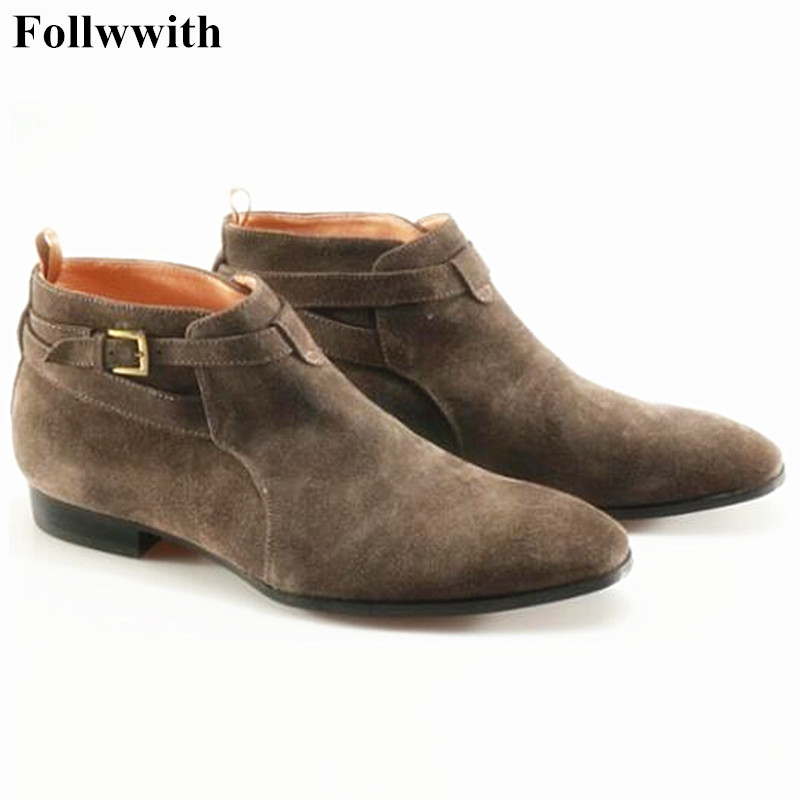 Top Quality Handsome Comfortable New Winter Shoes Genuine Leather Men Pointed Toe Buckle Mens Dress Boots Plus Size Ankle Botas red men wedding dress shoes pointed toe ankle boots genuine leather botas hombre cowboy military boots metal decor men flats