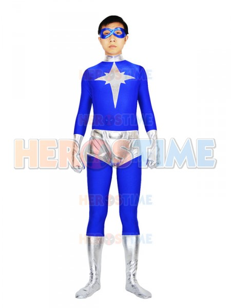 The Mr Incredible Costume Blue And Silves Male Spandex And Metallic Kyberstarr Superhero Costume