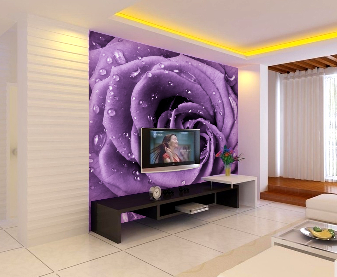 цена Hot custom stickers art modern large mural 3d wallpaper stereo purple rose tv sofa background wall paper eco-friendly home decor онлайн в 2017 году
